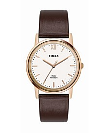 Traditional Men's Brown Leather Strap Watch 33mm
