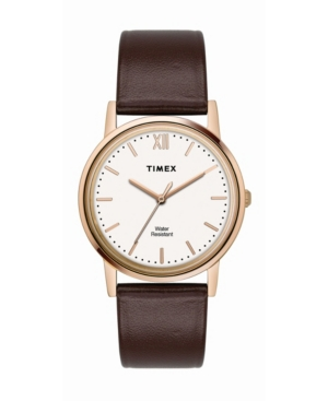 TIMEX TRADITIONAL MEN'S BROWN LEATHER STRAP WATCH 33MM