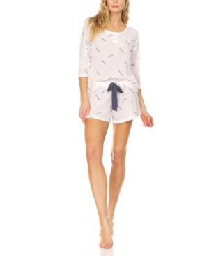 Women's Waffle Knit Three Quarter Sleeve Top Matching Shorts Loungewear Set