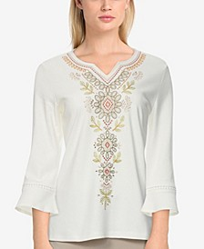 Petite Size San Antonio Embroidered Bell Sleeve Top