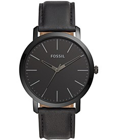 Men's Luther three hand, black leather strap watch 44mm