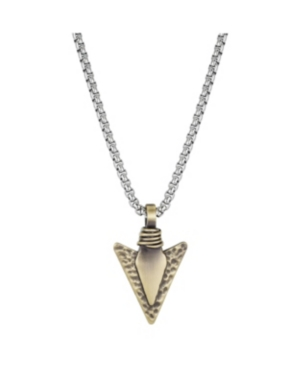 Two-Tone Stainless Steel Hammered Arrowhead Pendant Necklace