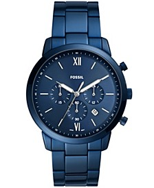 Men's Neutra chronograph movement, blue stainless steel bracelet watch 44mm