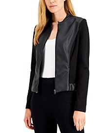 Petite Mixed-Media Zip-Front Jacket, Created for Macy's