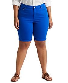 Plus-Size Mid-Rise Denim Bermuda Shorts