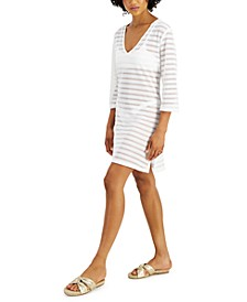 Sheer-Stripe Tunic Cover-Up