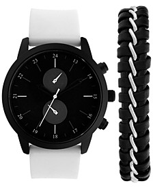 INC Men's White Silicone Strap Watch 44mm & Bracelet Set, Created for Macy's