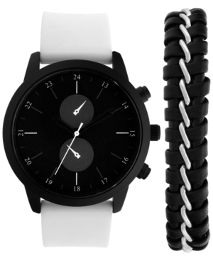 INC INTERNATIONAL CONCEPTS INC MEN'S WHITE SILICONE STRAP WATCH 44MM & BRACELET SET, CREATED FOR MACY'S