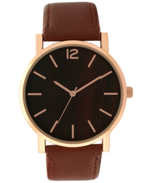 INC INTERNATIONAL CONCEPTS INC MEN'S BROWN FAUX-LEATHER STRAP WATCH 41MM, CREATED FOR MACY'S
