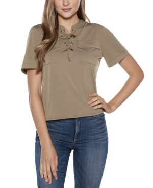 Black Label Lace Up Top with Pockets
