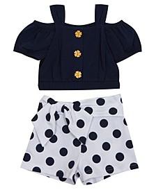 Toddler Girls Dot Shorts Set