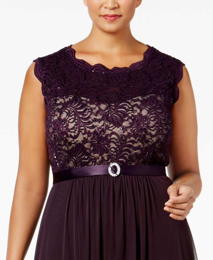 R & M Richards Plus Size Embroidered Lace A-Line Gown  & Reviews - Dresses - Women - Macy's