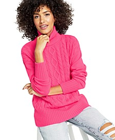 Cashmere Mixed-Stitch Turtleneck Sweater, In Regular and Petites, Created for Macy's