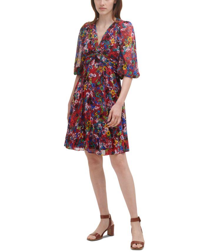 Calvin Klein Floral-Print Chiffon A-Line Dress & Reviews - Dresses - Women - Macy's