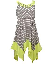 Little Girls Striped Hanky Hem Knit Dress