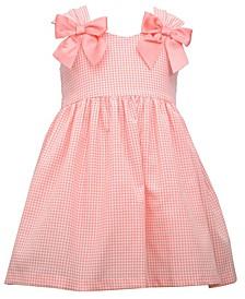 Little Girls Shirred Strap Woven Gingham Check Waistline Dress