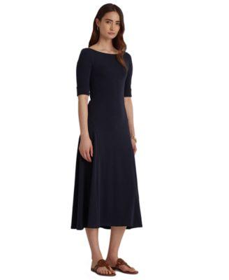 로렌 랄프로렌 Lauren Ralph Lauren Fit & Flare Midi Dress,Lauren Navy