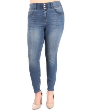 Trendy Plus Size Three-Button Skinny Jeans
