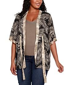 Black Label Plus Size Palm Print Open Front Kimono Sleeve Cardigan