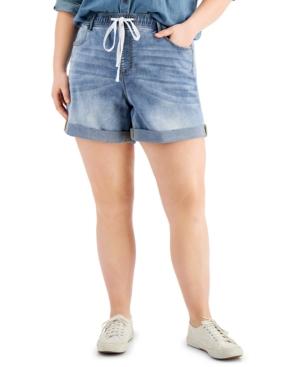 Trendy Plus Size Tie-Waist Cuffed Shorts