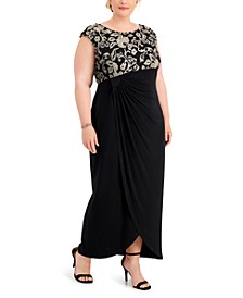 Plus Size Embroidered Gathered-Waist Gown