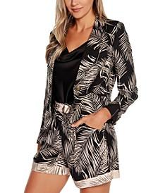 Black Label Palm Print Lapel Collar Blazer