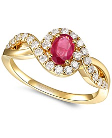 Passion Ruby (3/8 ct. t.w.) & Nude Diamond (3/8 ct. t.w.) Twist Ring in 14k Gold
