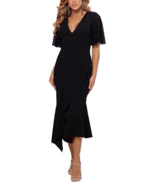 Asymmetrical-Hem Fit & Flare Midi Dress