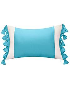 Color Block Tassel Fringe Lumbar Decorative Pillow, 12 x 20