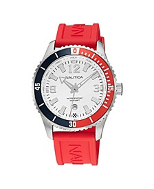 Men's Analog Red Silicone Strap Watch 44 mm