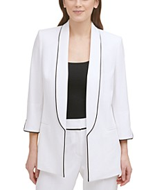Piped Shawl-Collar Open-Front Blazer