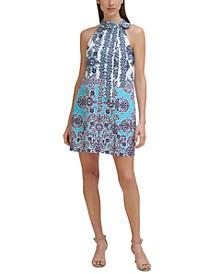 Petite Border-Print Tie-Neck Dress