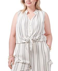 Plus Size Stripe-Print Tie-Hem Top