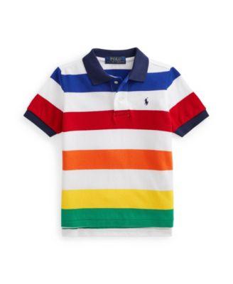 폴로 랄프로렌 남아용 폴로셔츠 Polo Ralph Lauren Toddler Boys Striped Mesh Polo Shirt,Rainbow Stripe-White