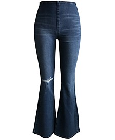 Juniors' Distressed High Rise Flare Jeans