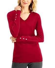 Button-Cuff V-Neck Sweater, Created for Macy's
