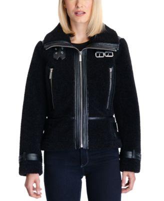 마이클 마이클 코어스 우먼 셰르파 코트 Michael Michael Kors Sherpa Moto Coat,Black
