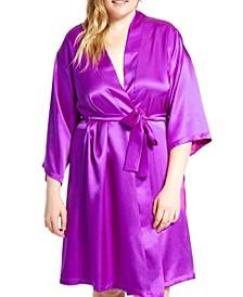 Plus Size Marina Lux Satin Robe