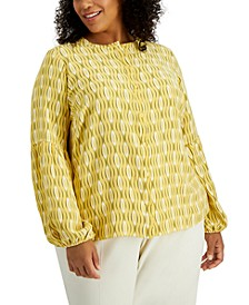 Plus Size Abstract-Print Blouse, Created for Macy's