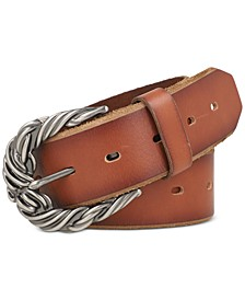 Rope Buckle Perforated Leather Belt