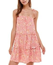 Juniors' Tiered Floral-Print Shift Dress