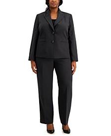 Plus Size Two-Button Straight-Leg Pantsuit