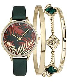 INC Women's Dark Green Faux-Leather Strap Watch 32mm & 3-Pc. Bracelet Set, Created for Macy's