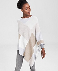 Colorblock Cashmere Poncho, Created for Macy's