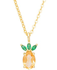 """Citrine (3/8 ct. t.w.) & Green Spinel (1/8 ct. t.w.) Pineapple Fruit 18"""" Pendant Necklace in 14k Gold-Plated Sterling Silver"""