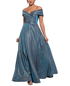 Off-The-Shoulder Shimmer Wrap Gown
