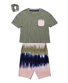 Big Girls Short Sleeve Pocket Tee and Bike Short Set