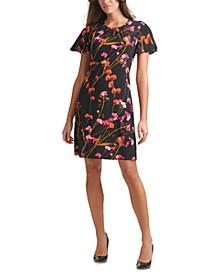 Printed Flutter-Sleeve Shift Dress