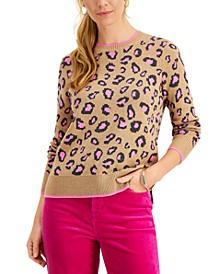 Petite Animal-Print Crewneck Sweater, Created for Macy's