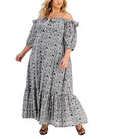 Plus Size Cold-Shoulder Maxi Dress, Created for Macy's